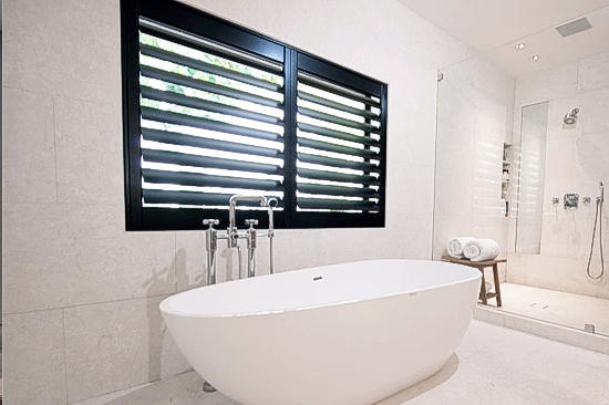 Bathroom with plantation shutters