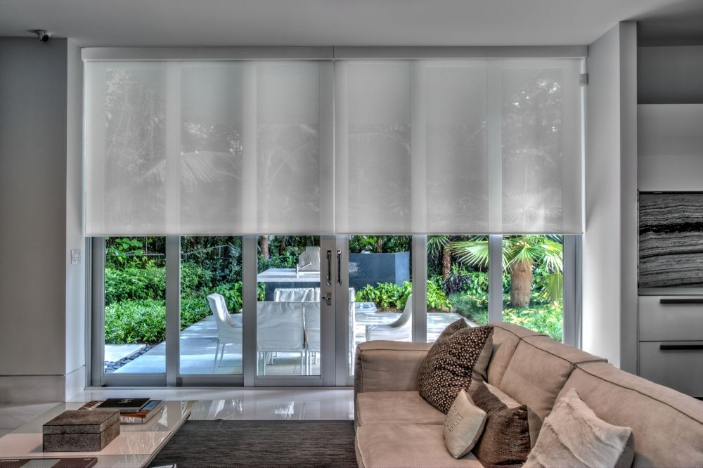 Roller shades in a residential setting