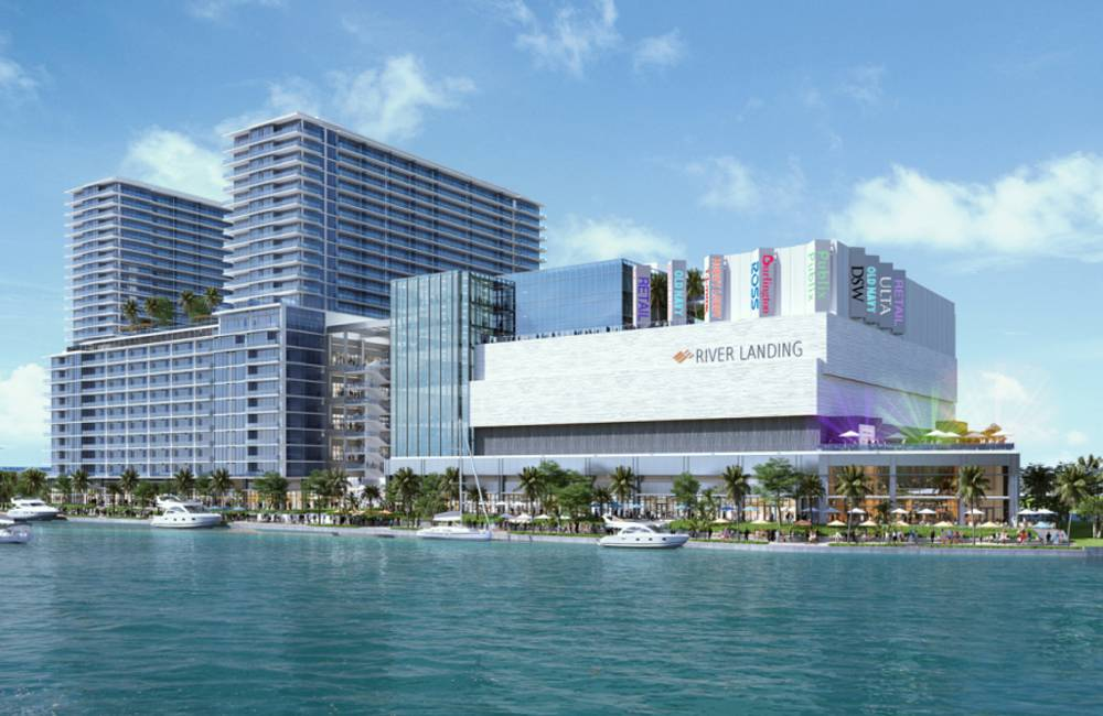 River Landing shops and residences, Miami ground-level waterfront view